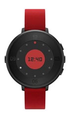 Montre Pebble Time Round 14mm Cuir Rouge