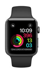 Montre Apple Watch 2 Alu Gris Sidéral 42mm Bracelet Sport Noir