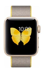 Montre Apple Watch 2 Alu Or 38mm Bracelet Nylon Tissé  Jaune et Gris Clair