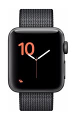 Montre Apple Watch 2 Aluminium Gris Sidéral 38mm Bracelet Nylon Tissé  Noir