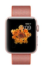 Montre Apple Watch 2 Aluminium Or Rose 42mm Bracelet Nylon Tissé Orange solaire et anthracite