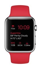 Montre Apple Watch Acier 42mm Bracelet Sport Rouge