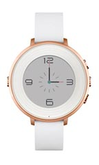 Montre Pebble Time Round 14mm Cuir Blanc