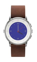 Montre Pebble Time Round 20mm Cuir Marron