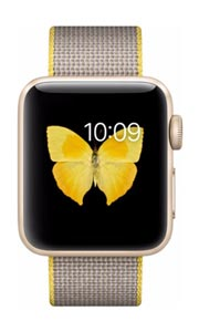 Apple Watch 2 Alu Or 38mm Bracelet Nylon Tissé Jaune et Gris Clair