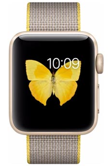 Apple Watch 2 Alu Or 38mm Bracelet Nylon Tissé  Jaune et Gris Clair