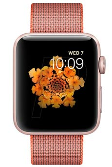 Apple Watch 2 Aluminium Or Rose 42mm Bracelet Nylon Tissé Orange solaire et anthracite