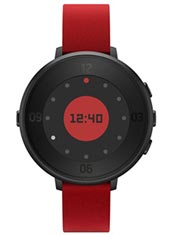 Pebble Time Round 14mm Cuir Rouge