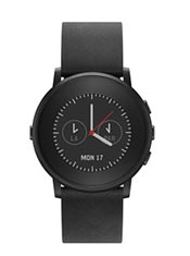 Pebble Time Round 20mm Cuir Noir