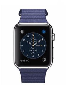 apple watch acier 42mm bracelet en cuir bleu pas ch re prix caract ristiques avis. Black Bedroom Furniture Sets. Home Design Ideas
