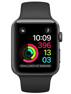 Apple Watch 2 Alu Gris Sid�ral 38mm Bracelet Sport Noir
