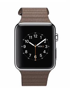 Apple Watch Acier 42mm Bracelet en Cuir Marron
