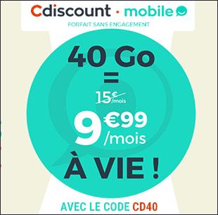 CDiscount Mobile 40 Go à 9 euros 99 à vie avec le code CD40 !