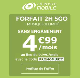 La Poste Mobile Music 2H 5Go à 4,99 euros !