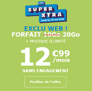Les Super Extra, 2 fois plus de liberté La Poste Mobile Music Illimité 20Go à 12,99 euros !