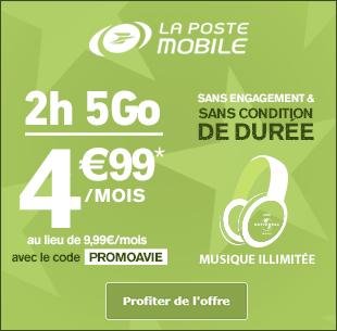 Forfait 2h 5 Go à 4 euros 99 avec le code PROMOAVIE sans engagement et sans condition de durée !