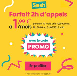 Forfait Sosh 2h d'appels à 1,99 euros !