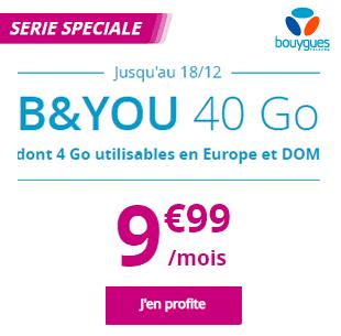 Bouygues Telecom: B&YOU 40 Go sans engagement dont 4 Go utilisables en Europe et DOM, 9 euros 99 pas seulement la première année !
