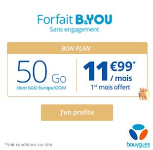 Bouygues Telecom: B&YOU 50 Go sans engagement, 11 euros 99 !