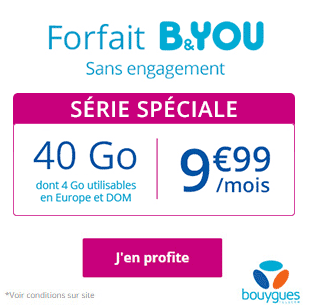 Bouygues Telecom : B&YOU 40 Go sans engagement dont 4 Go utilisables en Europe et DOM, 9 euros 99 !