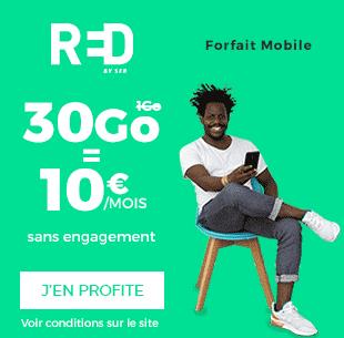 Forfait Red 30 Go pour 10 euros. Avec notre réseau 4G, captez où que vous soyez !