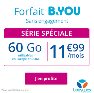 Bouygues Telecom: B&YOU 60 Go sans engagement, 11 euros 99 !