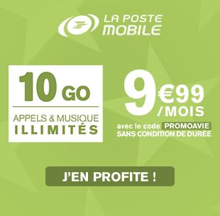 Exclu Web, 10Go sans conditin de durée, musique illimitée à 9,99€/mois avec le code PROMOAVIE !